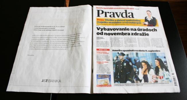 2012, denník Pravda s bielou titulkou