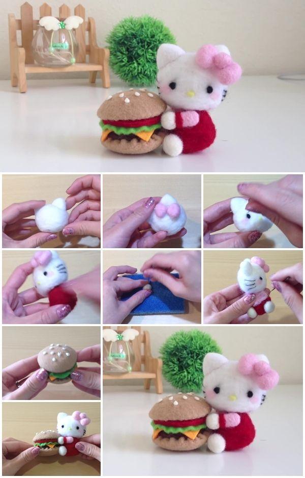 da0c50b89 How to Make Hello Kitty and Burger Plush Needle Felt | DIY & Crafts ...