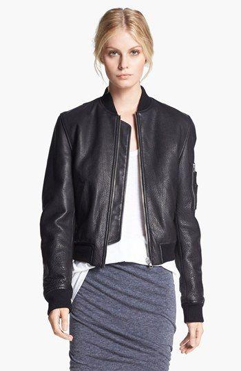 c35cbe7eb T by Alexander Wang Reversible Leather & Nylon Bomber Jacket ...