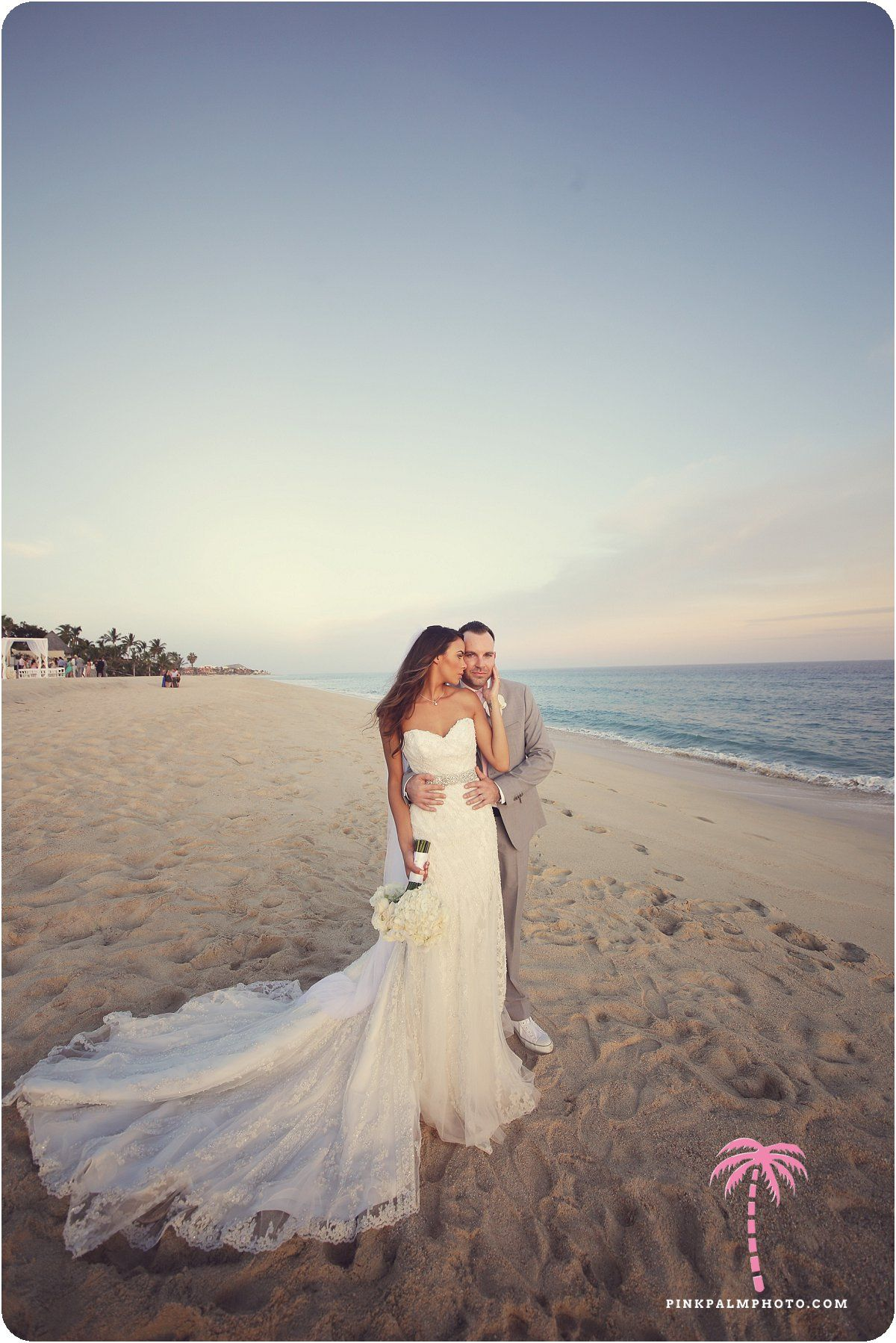 Bride and groom at beachfront Villa Serena, Cabo San Lucas. Wedding planner: Leslie Bost, One Happenings. #cabo #wedding #destinationwedding #wedspiration #white #whitewedding #beachfront #bridetobe #cabosanlucas