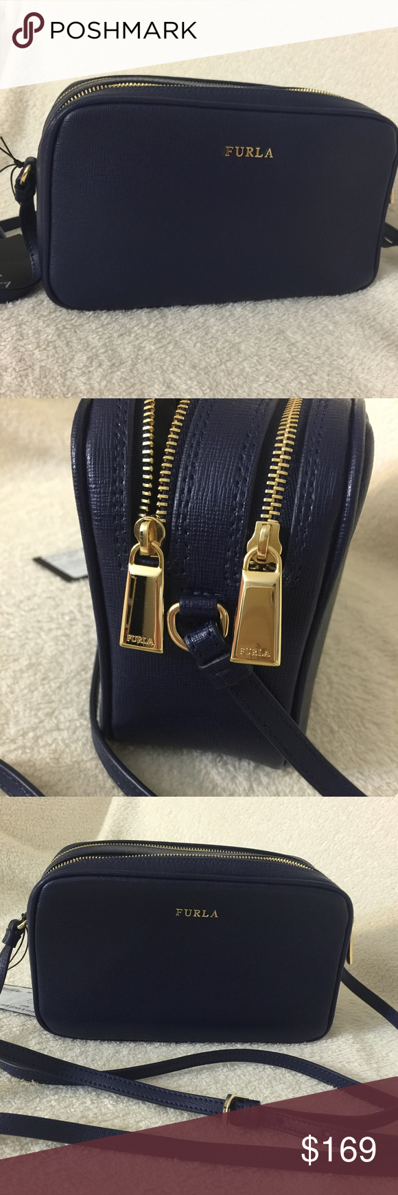 classic shoes 50% off large discount Furla double zip crossbody bag - blue NWT Royal blue color ...