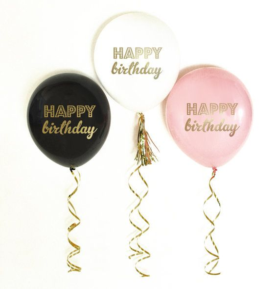 Happy Birthday Balloons Set Of 3 First Pink Bir Black White