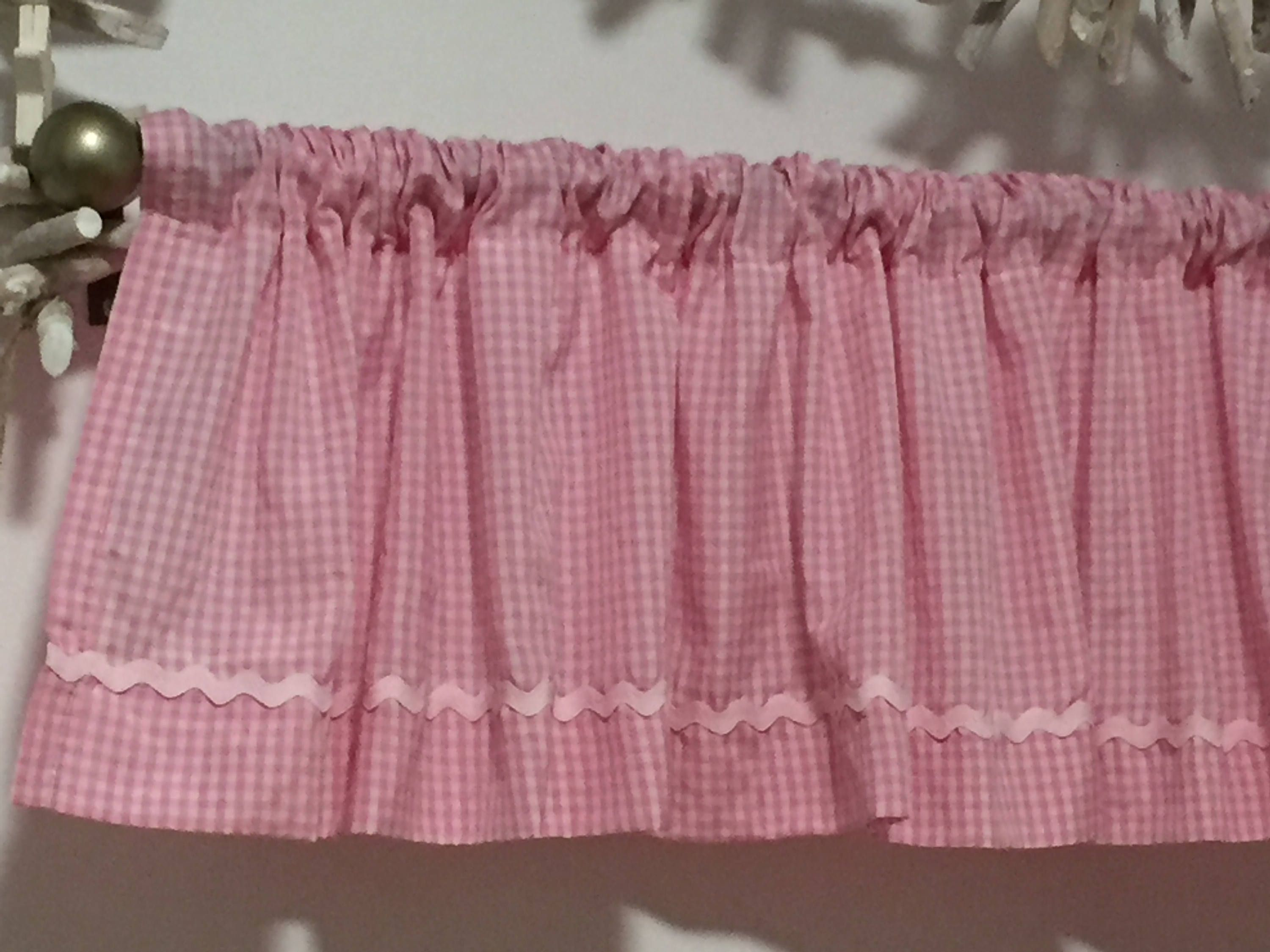 Pink Check Valance 12 Valance Curtain 12 Drapes Cafe