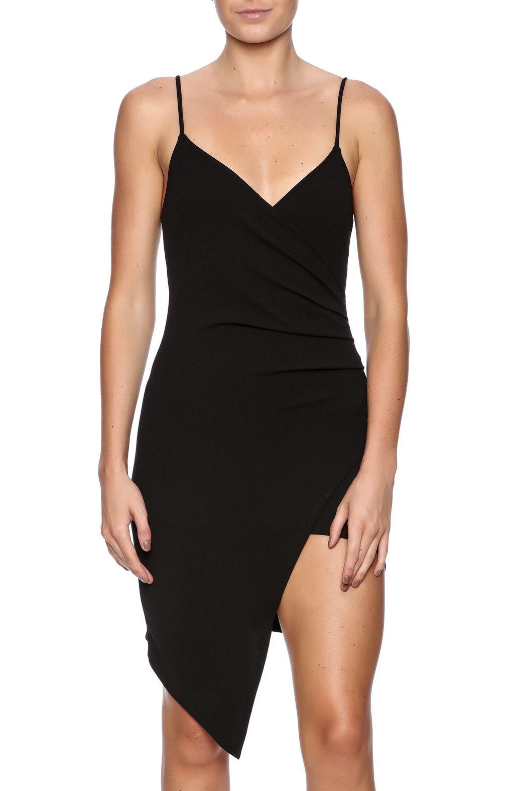 Black spaghetti strap dress with a v-neckline, wrap front design and back zipper closure.   Bodycon Black Dress by BLANC. Clothing - Dresses - LBD New York City