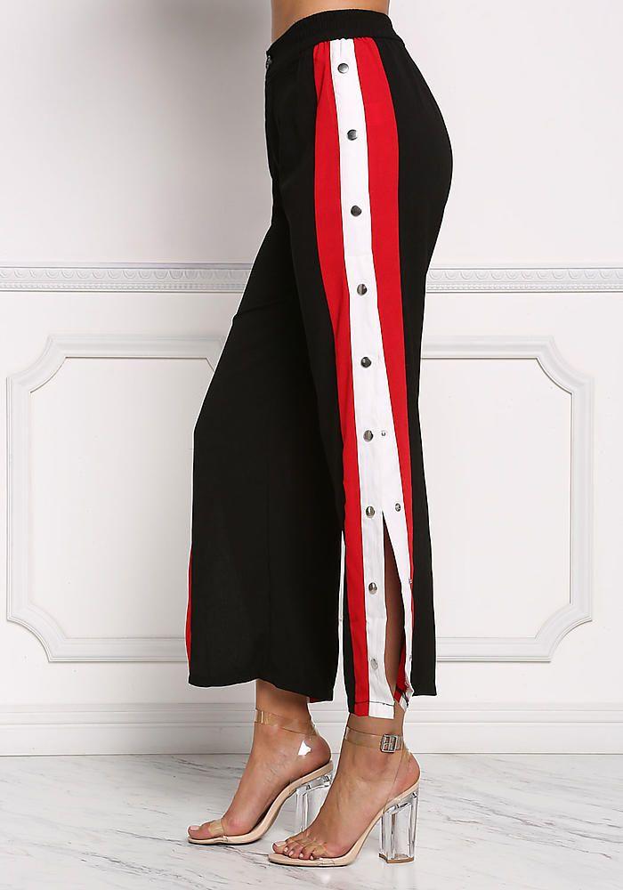 Black Popper Side Stripe Pants Fashion Outfits Junior