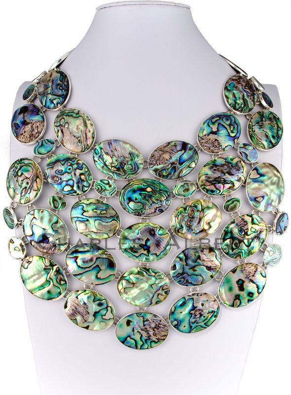 Style #LBN24: Abalone Necklace set in sterling silver. Retail $ 2,100
