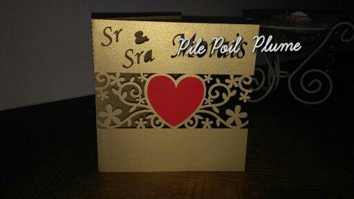 Carte  félicitation mariage silhouette cameo coeur