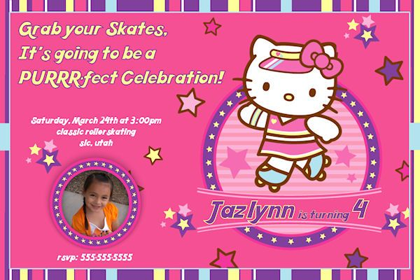 Hello Kitty Roller Skating Personalized Birthday Invitation – Personalized Hello Kitty Birthday Invitations