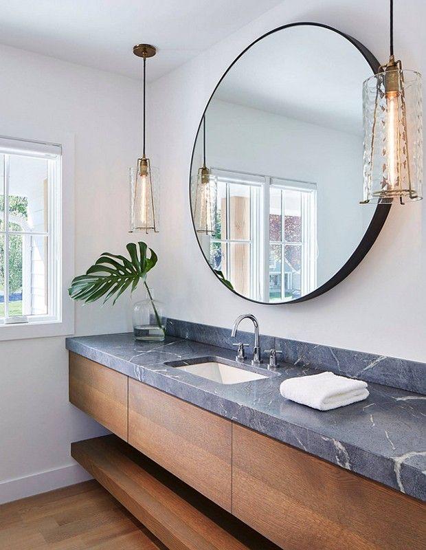 grauer Speckstein erhabener Look modernes Badezimmer ...