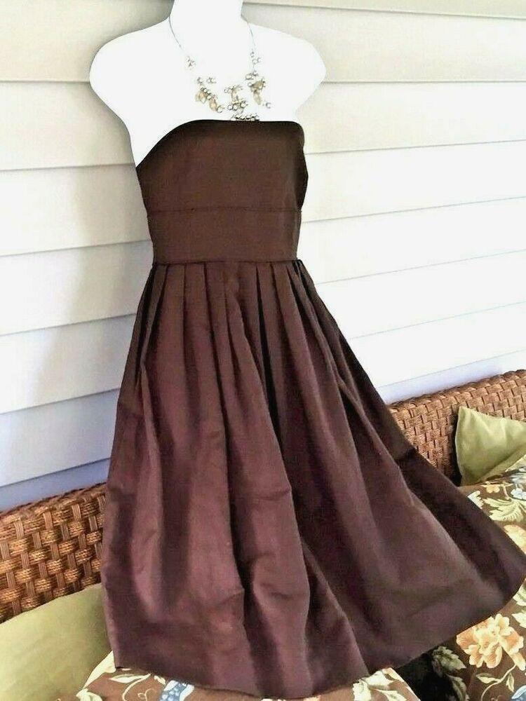 31a71d1d8d523 J Crew Dark Brown 4 Crinoline Full Skirt Strapless Prom Tea Dress Simple  Pretty #JCrew #TeaDressFitFlareDress #Casual