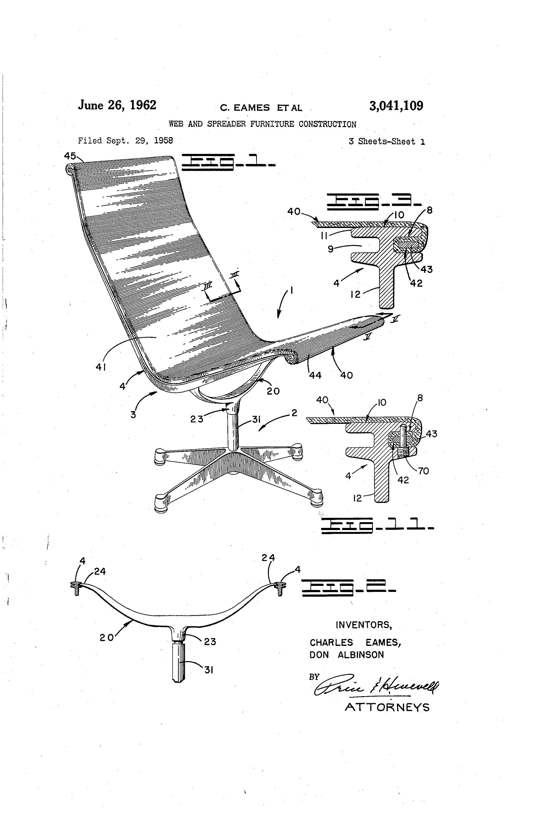 Eames Chair Drawing Eames Aluminum Group Chair Original Patent Eames