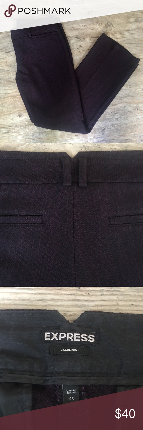 "Express • Columnist • Purple & Black Pants Express • Columnist Pants • Purple and Black mixed threads • Size 12R  Measurements: Waist: 36"" Rise: 9 3/4"" Inseam: 30"" Hips: 38 1/2""  Materials: 50% Viscose 49% Polyester 1% Elastaine  Condition: Gently Used ( No Rips or Stains) Express Pants"