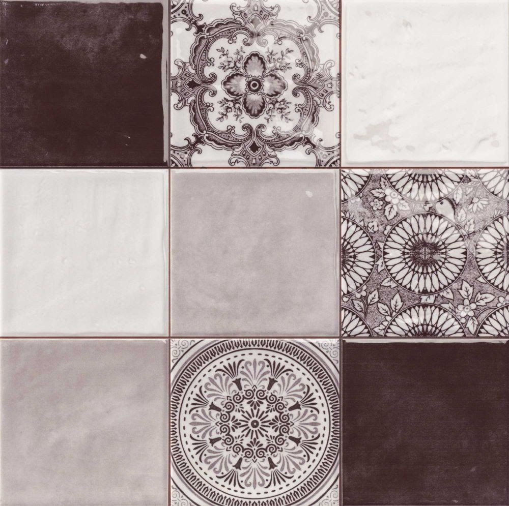 Kitchen 10x10 Patterned Wall Tiles Black Grey White Mixed With Patterns All Set In A 33x33 Ceramic Tile Fro Black Wall Tiles Patterned Wall Tiles Wall Tiles