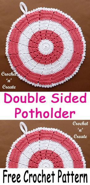 Double Sided Cotton Crochet Potholder #crochetpotholderpatterns