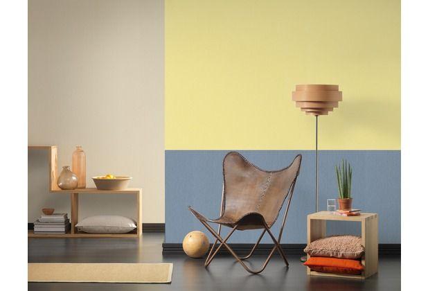 Auch unifarbene Tapeten können schön kombiniert werden Gelb und - wohnzimmer gelb blau