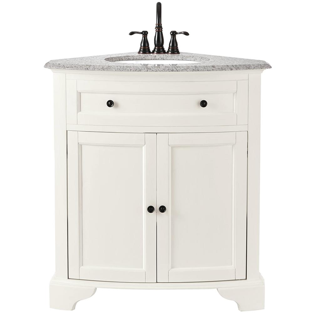 Home Decorators Collection Hamilton 31 In W X 23 In D Corner Bath Vanity In Ivory With Granite Vanity Top In Grey 10809 Cs30h Dw The Home Depot Corner Bathroom Vanity Corner Sink