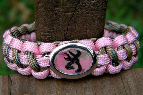 Custom Handmade Paracord Bracelet with a Handmade Browning Deer Camo Charm