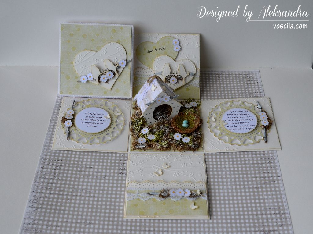Wedding exploding box with birdhouse and a nest.