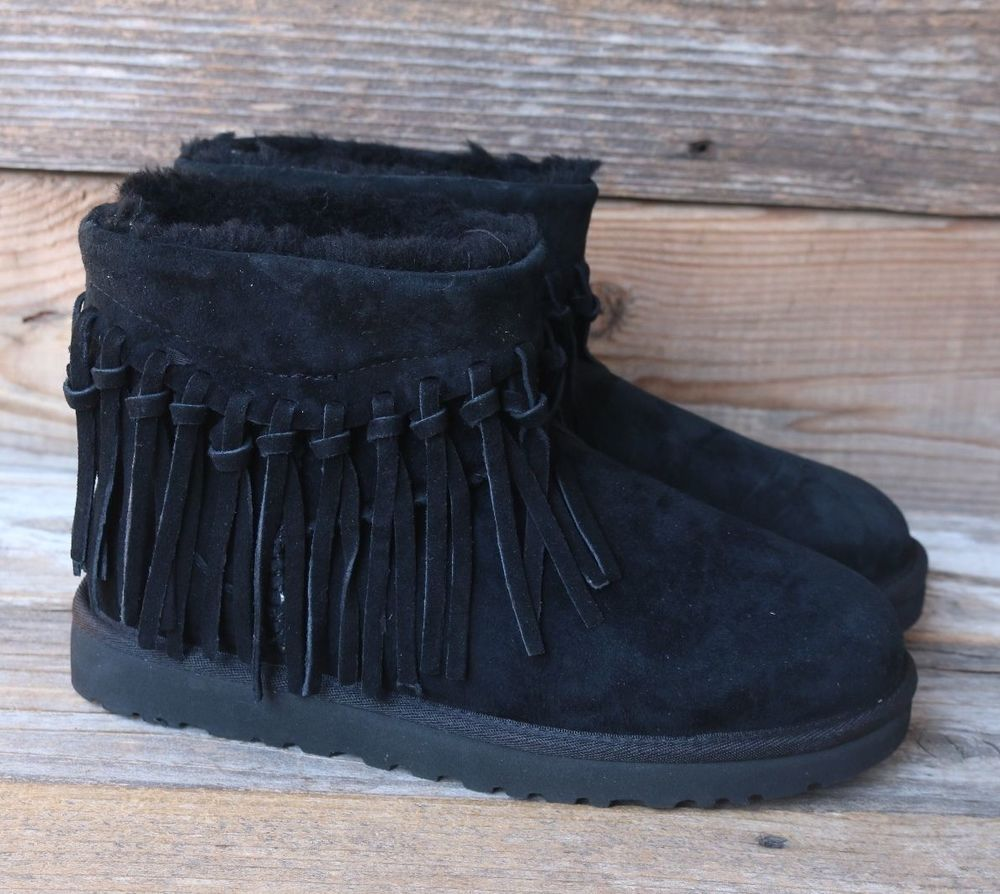 721273d5ad1 UGG Australia Womens Wynona Fringe Classic Mini Leather Black Boots ...