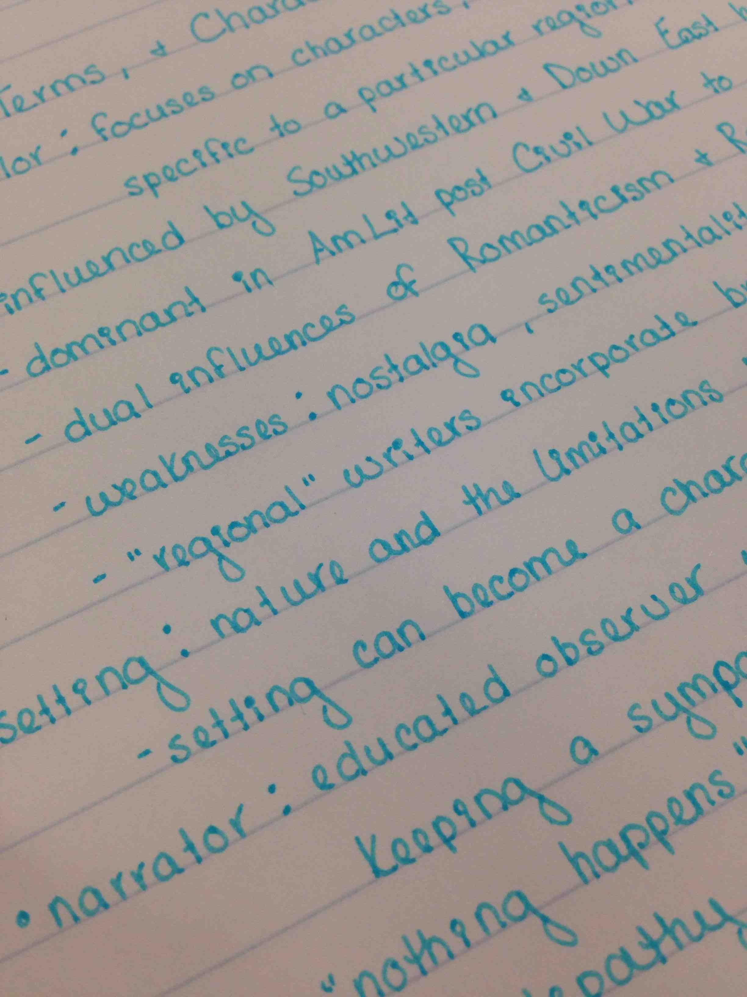 Ive Been Told I Have Nice Handwriting So Some Of My American Literature Notes