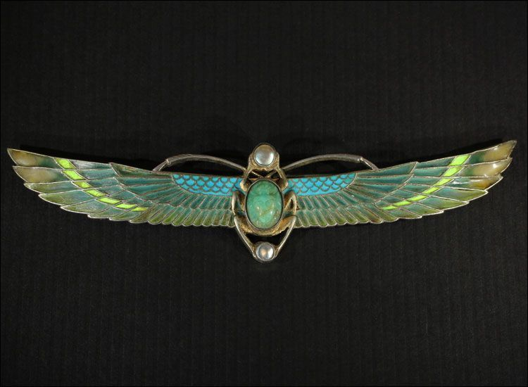 Art Deco Plique á Jour Winged Scarab Brooch, Large Sterling Silver c. 1925 Pin