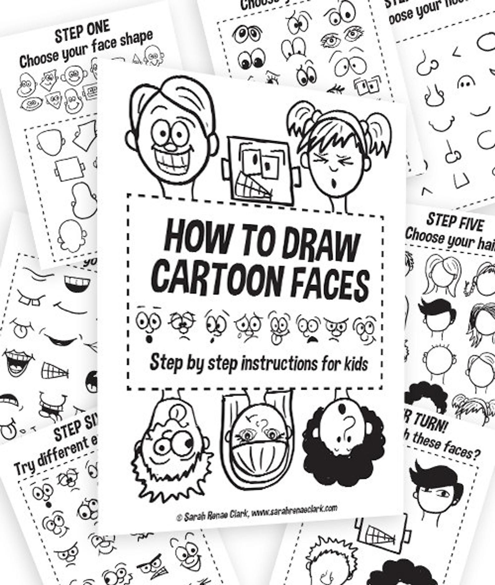 How To Draw Cartoon Faces Kids Printable Worksheets