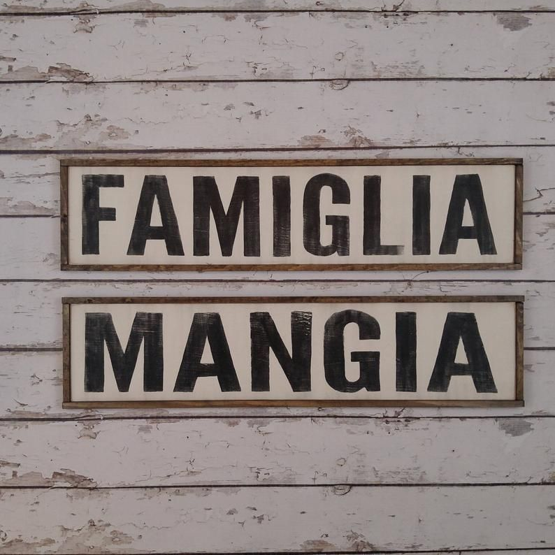 TWO SIGNS Cucina Sign, Italian Kitchen Sign, Italian Decor, Mangia Sign, Famiglia Sign, Custom Wood Sign, Italian Sign, Kitchen Sign Bundle