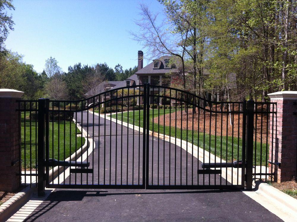 Style B Aluminum Double Drive Estate Arch Driveway Gate Aluminum Fence Driveway Gate Fence Sections