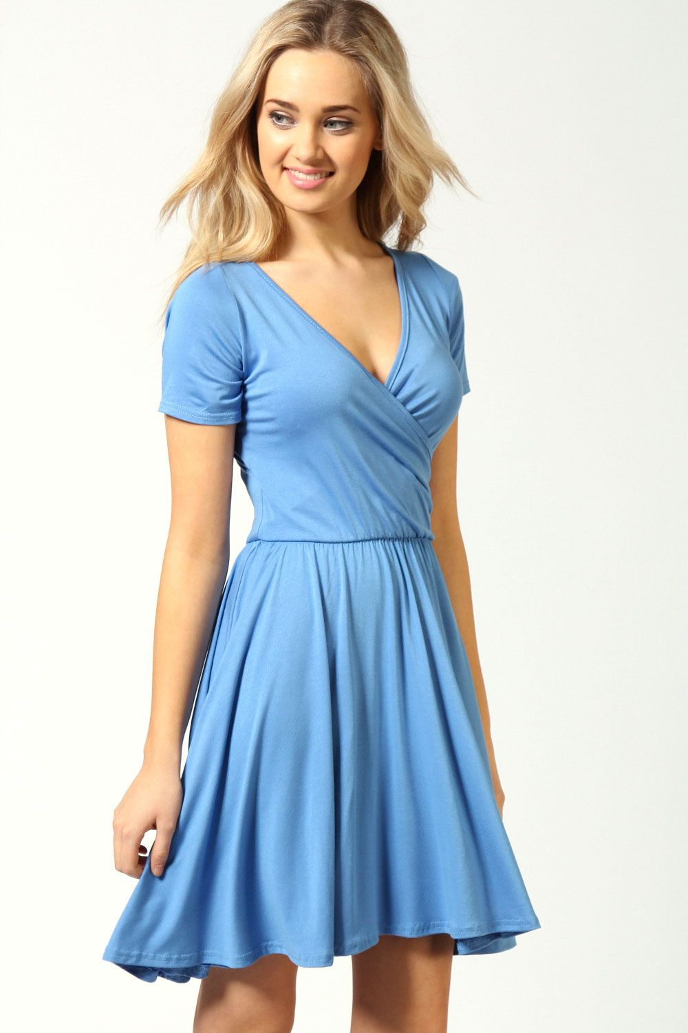 Ashley Wrap Over Cap Sleeve Skater Dress, Also in B,W,G,Pur Product ...