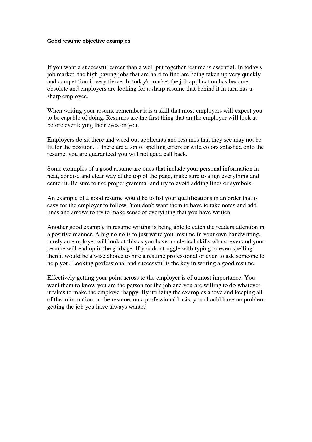 good job examples gethook cover letter template for resume objective ...