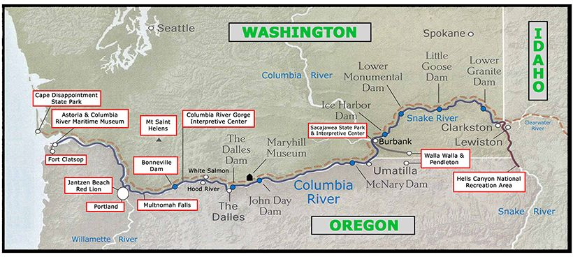Columbia River Cruise Map Western Us Destinations Pinterest - Columbia-river-map-us
