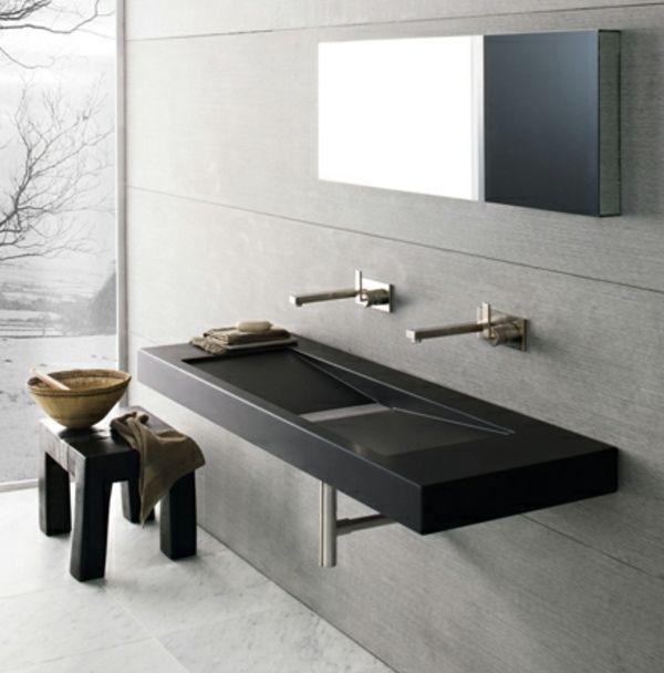 Moderne Badmöbel moderne badmöbel spiegel graue stein fliesen bad sanitär keramik