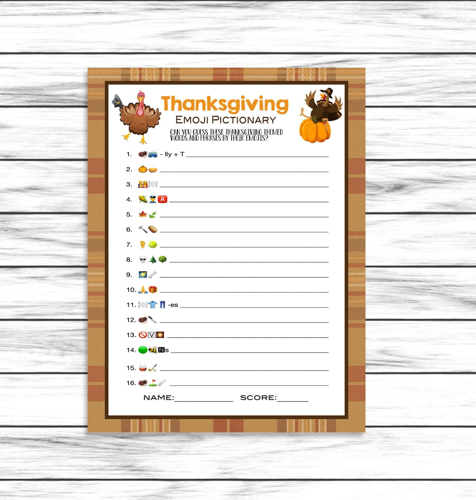 Thanksgiving Emoji Game Emoji Pictionary Party Game Emoji Etsy In 2020 Emoji Games Thanksgiving Family Games Thanksgiving Games