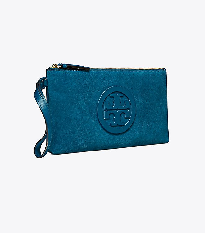 a41699129438 Tory Burch Charlie Suede Clutch   Color  Symphony Blue Detail  Keep  belongings conveniently — and stylishly — close at hand with our Charlie  Clutch.