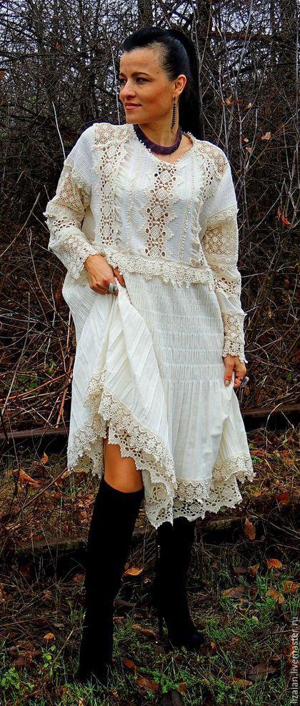 0a41b09b42e93 Платья ручной работы. Ярмарка Мастеров - ручная работа. Купить БОХО платье  цвета экрю (№2). Handmade. Белый