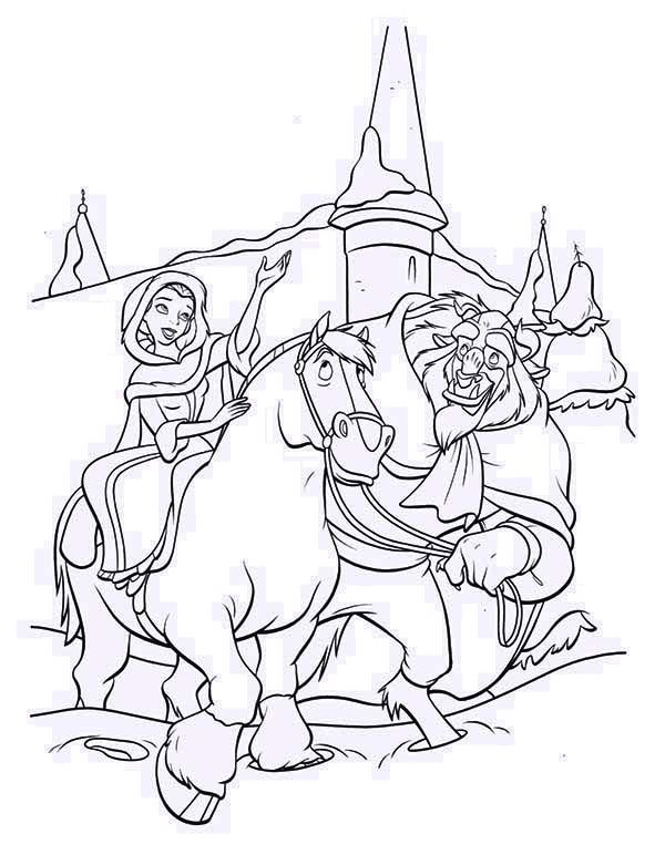 Beauty And The Beast Belle Riding Horse With On Her Side Colouring PagesDisney