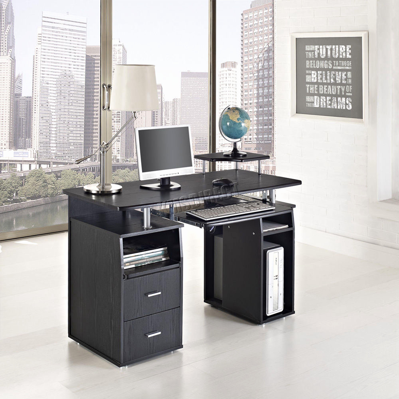 Elegant black computer desk awesome inspirations for desk style