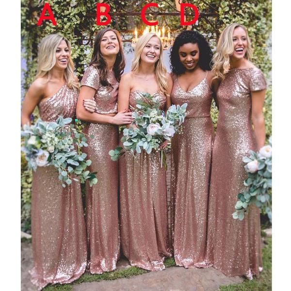 2017 Rose Gold Sequin Mismatched Long Wedding Bridesmaid Dresses Wg415