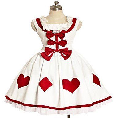 À manches courtes mi-longueur de Coton Blanc Coeur Rouge et Rhombus Modèle Robe Sweet Lolita – EUR € 74.24