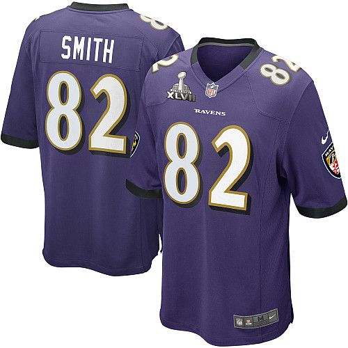 nike nfl baltimore ravens 82 torrey smith super bowl xlvii game purple team color youth jersey