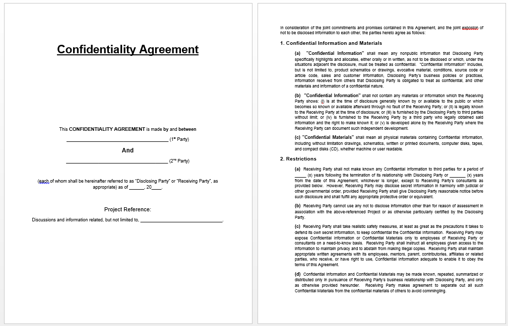 Confidentiality Agreement Template  Templates    Template
