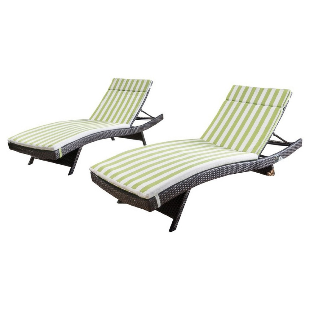 Salem Set of 2 Brown Wicker Lounge - Green and White Stripe ...