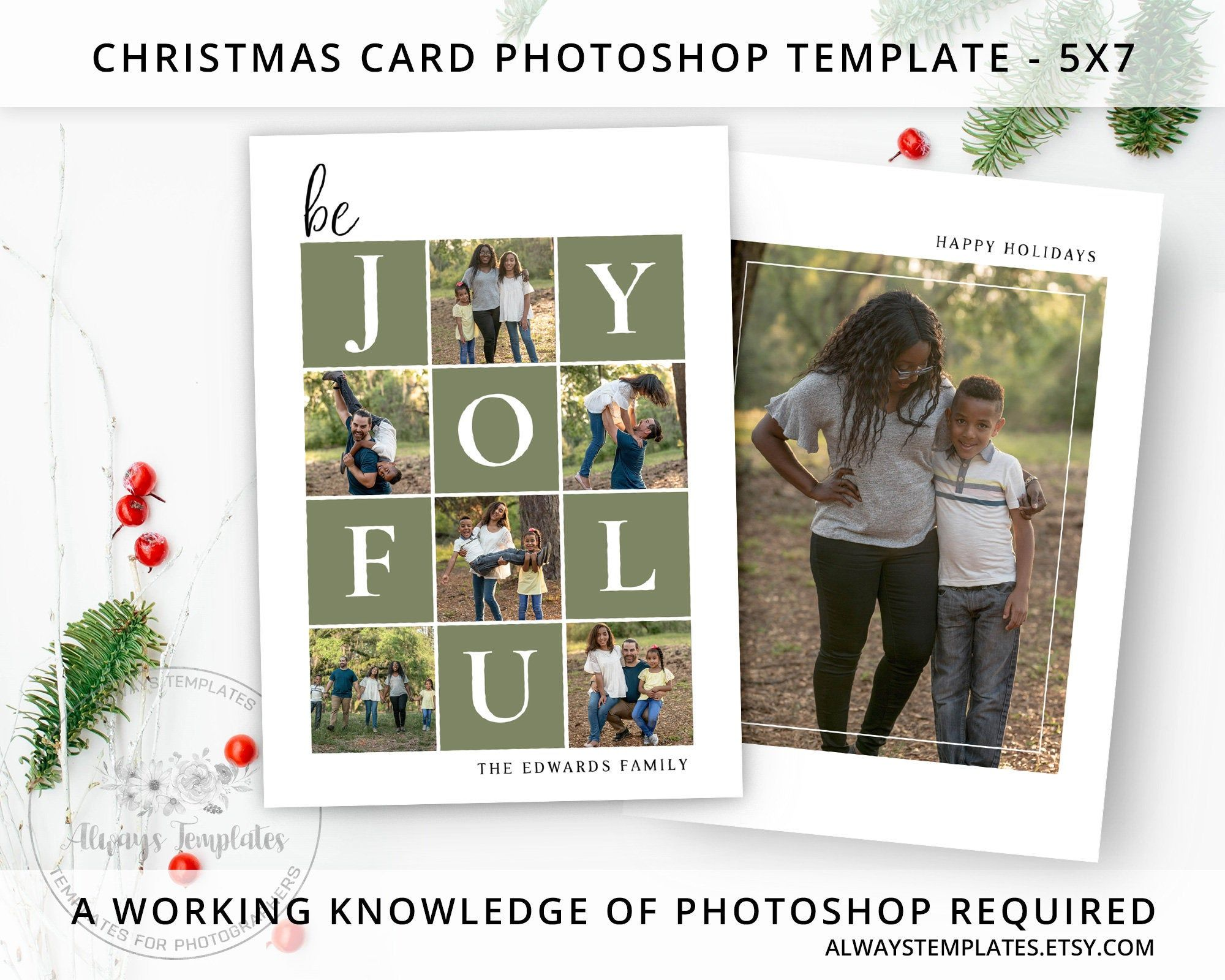 Christmas Card Template Photo Christmas Card Template Etsy Christmas Card Template Photoshop Christmas Card Template Holiday Card Template