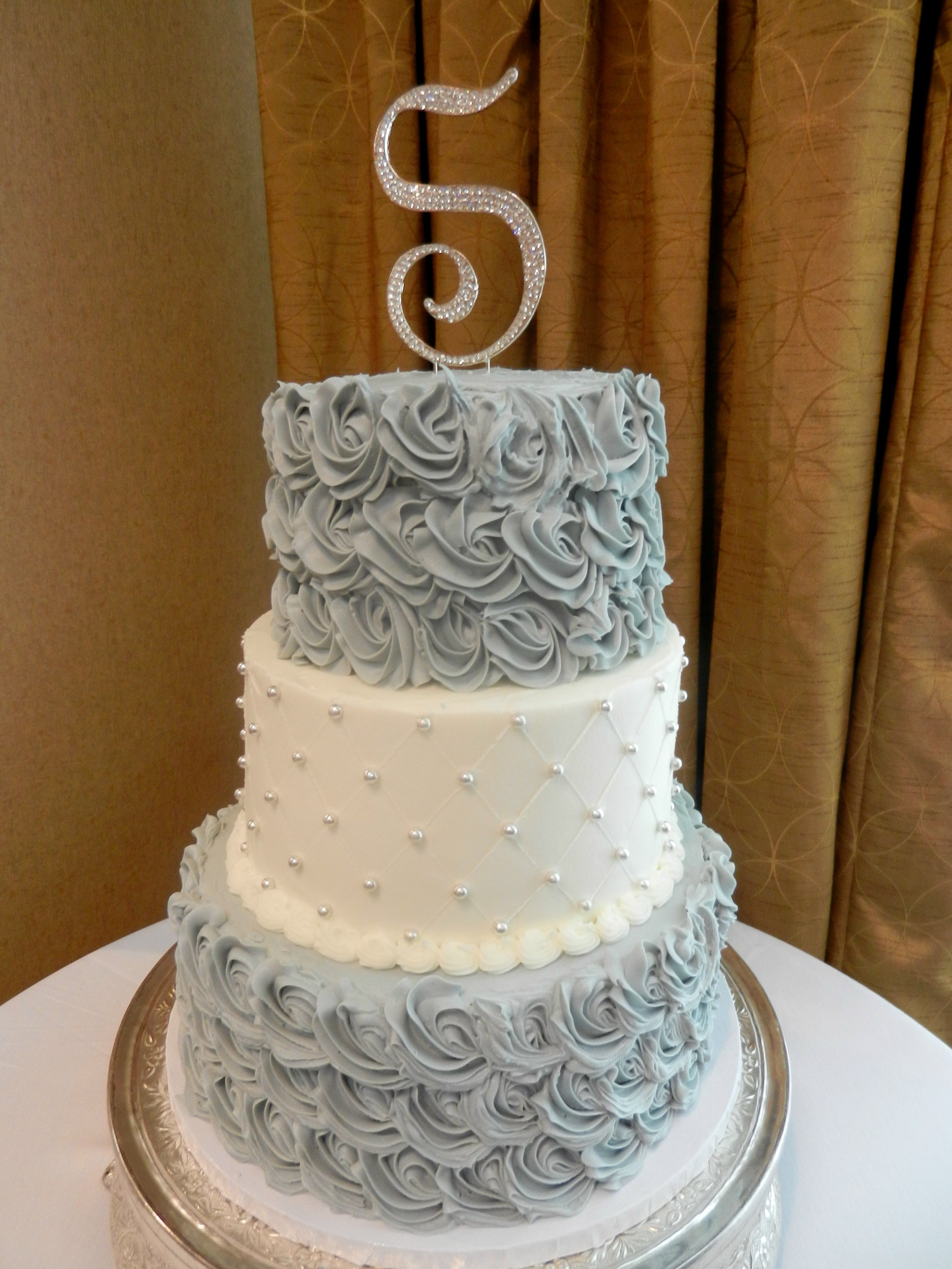 Pewter And Silver Wedding Cake Www.cheesecakeetc.biz Wedding Cakes  Charlotte NC