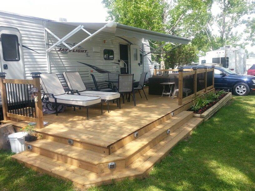 Trailer deck enhances outdoor living space pinteres for Rv outdoor decorating ideas