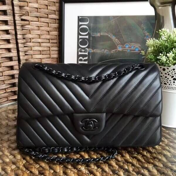 70809a0164f2 Chanel So Black Chevron Lambskin Medium Classic Flap Bag Email me to the  purchase link