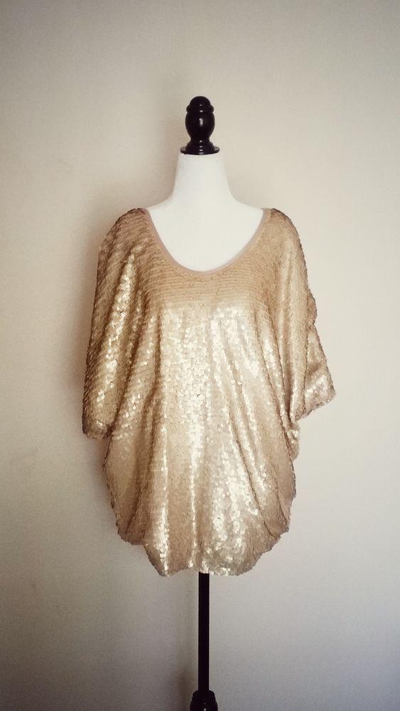 Rachel Zoe Sequin Gold Blouse Top Size S | eBay