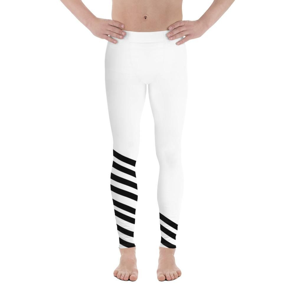9e6c4d03c2b36 Giichi Black and White Diagonal Striped Men's Athletic Running Leggings & Run  Tights Meggings Activewear Bottom - Made in USA/ Europe (Size: XS-3XL)  These ...