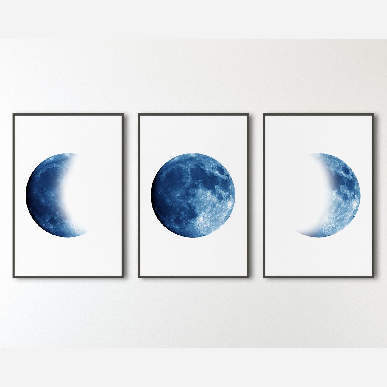 Moon Phases Print Set Of 3 Full Moon Art Print Crescent Moon Etsy Navy Blue Wall Art Moon Wall Art Etsy Wall Art
