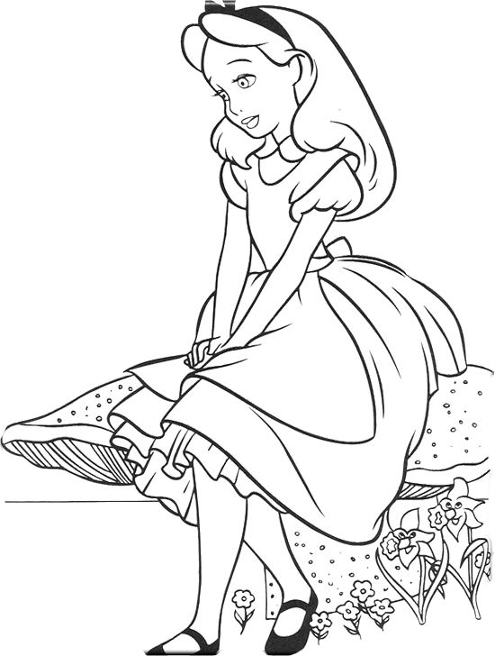Alice sitting with stone in wonderland coloring page for Disney alice in wonderland coloring pages